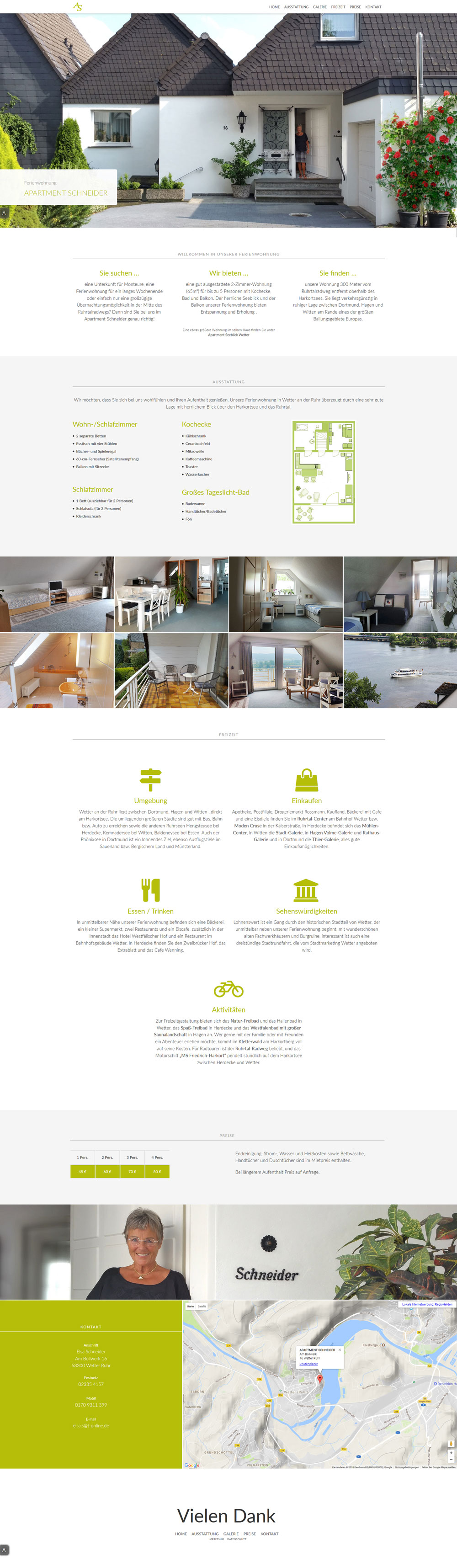 Website  Apartment Schneider - ORANGEDAY DESIGN